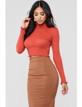 My Favorite Long Sleeve Top   Rust by Fashion Nova