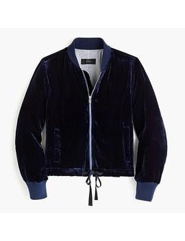 Velvet Bomber Jacket With Waist Ties by J.Crew