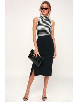 Kellie Black Ribbed Sweater Pencil Skirt by Lulus