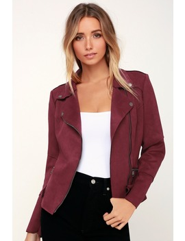 Life And Times Burgundy Suede Moto Jacket by Lulu's