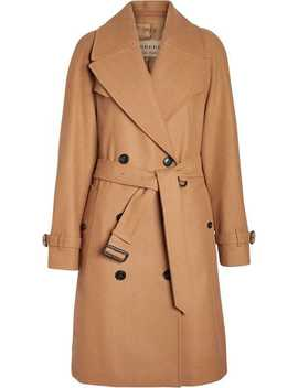 Burberry Herringbone Wool Cashmere Blend Trench Coathome Women Burberry Clothing Trench Coats & Raincoats by Burberry