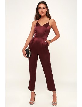 Touch Of Heaven Burgundy Satin Sleeveless Jumpsuit by Lulus