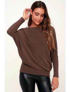 Verla Washed Plum Purple Dolman Sleeve Sweater Top by Lulus