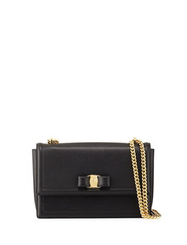 Ginny Medium Vara Crossbody Bag, Black by Salvatore Ferragamo