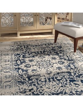 Bungalow Rose Grieve Cream/Navy Area Rug & Reviews by Bungalow Rose