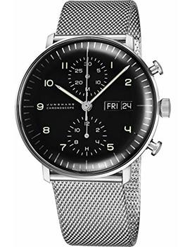 Junghans Max Bill Chronoscope Mens Day Date Automatic Chronograph Watch   40mm Analog Black Face Classic Watch With Luminous Hands   Stainless Steel Mesh Band Luxury Watch Made In Germany 027/4500.45 by Junghans