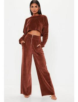 Rust Velour Zip Through Wide Leg Joggers by Missguided