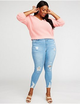 Plus Size Destroyed Push Up Skinny Jeans by Charlotte Russe