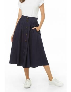 Button Front Midi Skirt by Forever 21