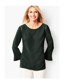 Three Quarter Peplum Sleeve Classic Crepe Popover by Talbots