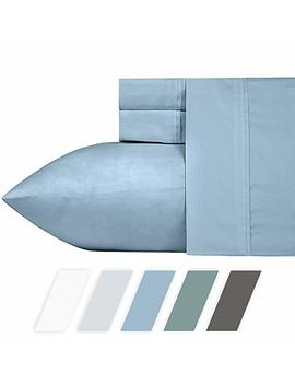 California Design Den #1 Bed Sheet Set 700 Thread Count Poly Cotton Sheet Set Morning Blue Queen, 4 Piece Bedding Sheets For Bed, Breathable, Sateen Weave, Fits Mattress Upto 18'' Deep Pocket by California Design Den