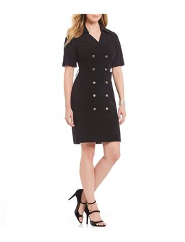 Petite Short Sleeve Bi Stretch Double Breasted Coat Dress by Tahari Asl