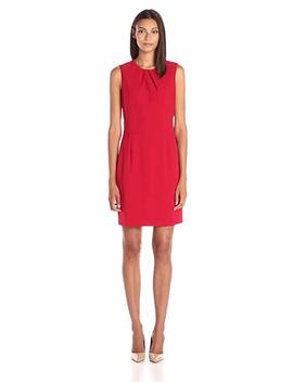 Lark & Ro Women's Pleated Neckline Sheath Dress by Lark+%26+Ro