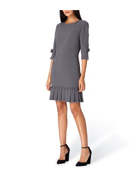 Petite 3/4 Sleeve Pleated Sheath Dress With Bow Detail by Tahari Asl