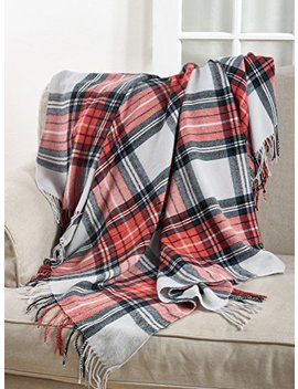 "Fennco Styles Classic Plaid Pattern Tassel Trim Throw Blanket   50""X60"" (Grey/Orange Multi) by Fennco Styles"