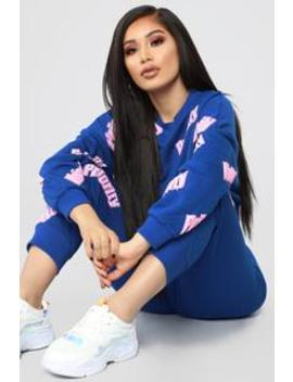 Only Priority Pant Set   Royal/Pink by Fashion Nova
