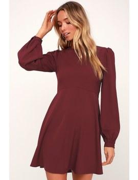 Follow Me Burgundy Long Sleeve Dress by Lulus