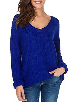 Sarin Mathews Womens Casual Hollow Knit Vneck Blouse Pullover Loose Tops Sweater by Sarin Mathews