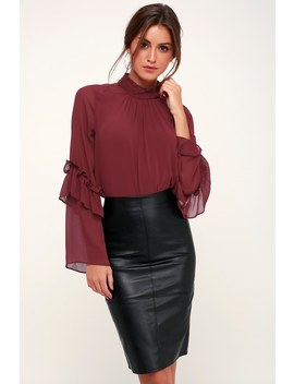 Soulmate Burgundy Mock Neck Ruffled Long Sleeve Top by Lush