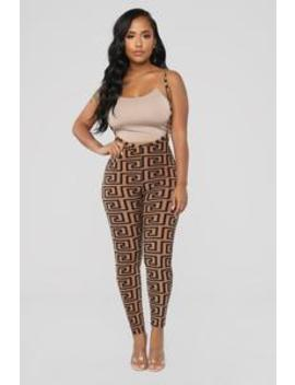 Miss Thang Print Leggings   Brown/Combo by Fashion Nova