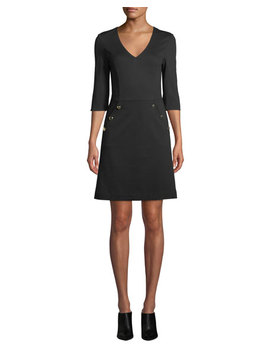 Valentina V Neck Dress W/ Button Details by Trina Turk