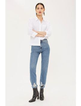 Mid Blue Ripped Hem Straight Leg Jeans by Topshop