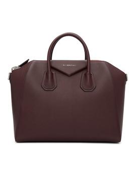 Burgundy Medium Antigona Bag by Givenchy