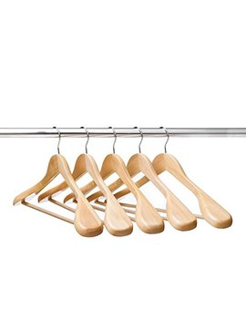 Ezihom Wood Suit Hangers With Extra Wide Shoulder, Solid Wood Coat Hangers With Natural Finish, Heavy Duty Wooden Hangers For Suit, Coat, Jacket With Non Slip Bar, 360 Swivel Chrome Hook, 5pcs by Vinuss