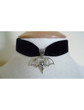 Black Velvet Bat Choker Pagan Gothic Wicca Necklace Gothic Halloween Fantasy by Etsy