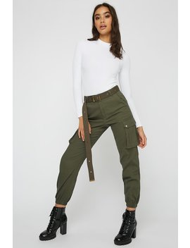 Belted Twill Cargo Jogger by Urban Planet