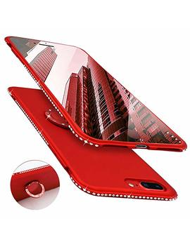 Newseego Compatible With I Phone 7 Plus Case,I Phone 8 Plus Case, Glitter Cute Phone Case With 360° Rotation Bling Diamond Rhinestone Bumper Ring Stand For I Phone 7 Plus/ 8 Plus Red by Newseego