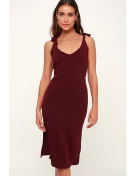 Rosaleen Burgundy Tie Strap Ribbed Knit Midi Dress by Lulus