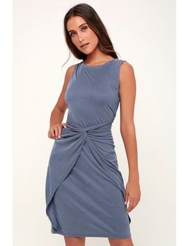 Knotty But Nice Denim Blue Ribbed Twist Front Dress by Lulus
