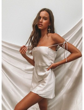 The Silk Slip Mini Dress Champagne by Princess Polly