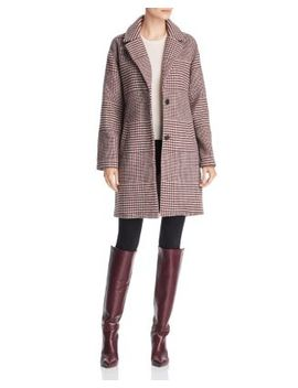 Notched Collar Plaid Coat by Bernardo