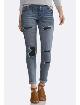 Distressed Dark Backing Jeans by Cato