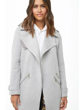 Longline Faux Suede Moto Jacket by Forever 21