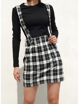 Black Plaid Cotton Shoulder Strap Chic Women Suspender Mini Skirt by Choies