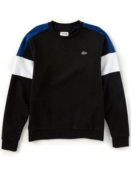 Sport Color Block Fleece Crew Sweatshirt by Lacoste