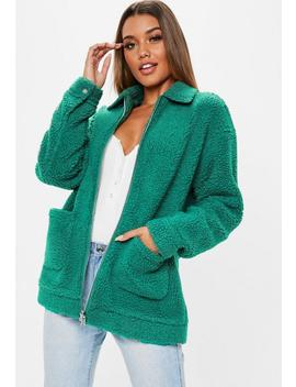 Teal Oversized Zip Through Teddy Coat by Missguided