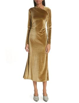Ruched Velvet Jacquard Midi Dress by Rachel Comey