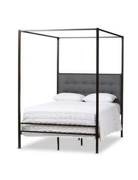 Eleanor Vintage Industrial Finished Metal Canopy Bed   Queen   Black   Baxton Studio by Baxton Studio