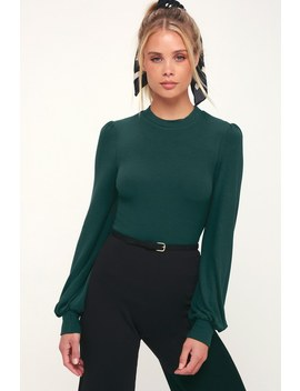 Irene Forest Green Ribbed Balloon Sleeve Top by Lulus