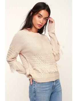 Mix It Up Beige Knit Fringe Sweater by Jack By Bb Dakota