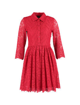 Red Lace Skater Dress by Idano