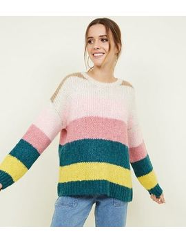 Multi Coloured Stripe Chunky Knit Jumper by New Look