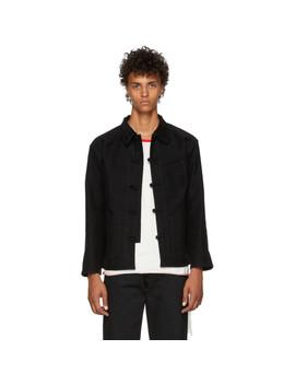 Black Moleskin Work Jacket by Kozaburo