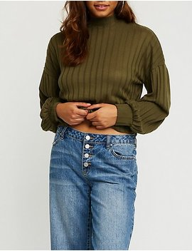 Mock Neck Ribbed Top by Charlotte Russe