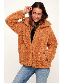 Cozy Days Camel Snap Front Sherpa Jacket by Billabong