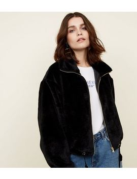 Black Zip Front Faux Fur Jacket by New Look